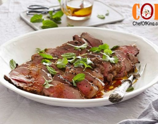 Golden marinated BBQ lamb with yoghurt and cumin