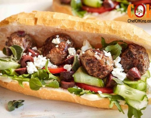 Greek-style meatball sandwich