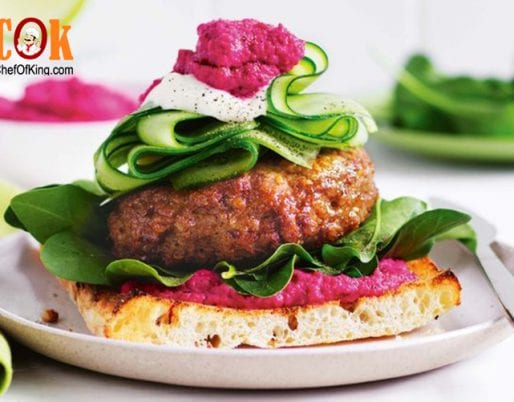 Open lamb burgers with beetroot hummus