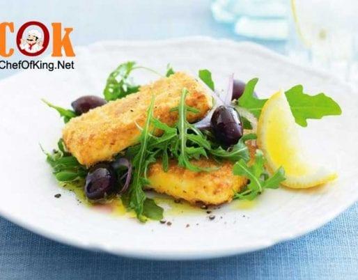 crumbed-haloumi-rocket-salad