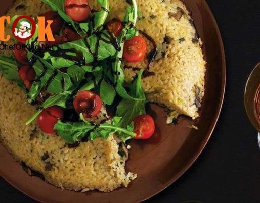 mushroom-risotto-cake-cherry-tomato-salad