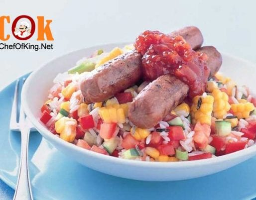 vegetarian-sausages-rice-salad