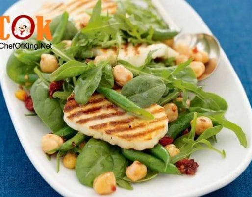 chickpea-haloumi-rocket-salad