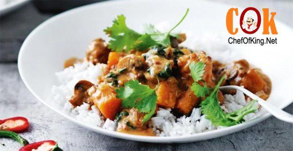 Pumpkin, lentil and mushroom curry 1