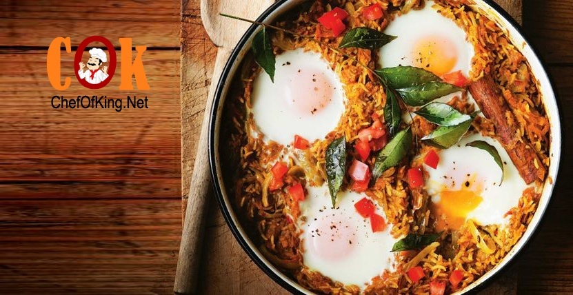 Spicy rice and sweet potato biryani with baked eggs recipe